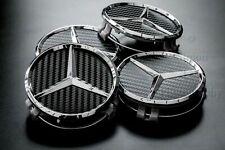 4 Tappi Coprimozzo Mercedes AMG Classe A B C E  Cerchi in Lega 75mm Carbonio