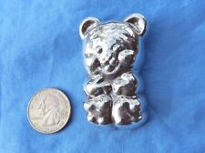 "STERLING SILVER LARGE 3D PUFFY TEDDY BEAR PENDANT BROOCH COMBO 2.5""  16.5 GRAMS"