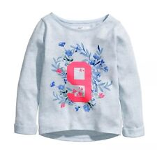 H M Girls Blue Sweater Pullover Floral Flower Light Weight Size 2 3 4