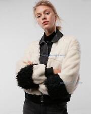 nwt EXPRESS cropped mixed fur sherpa zip jacket coat m medium patchwork