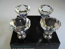 4 Large Vintage Design Style Crystal Glass Door Drawer Cabinet Knobs / Handle