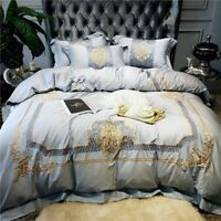 Luxury Egyptian Cotton Royal Embroidery Bedding Set Cover Bed Sheet Linen 4pcs