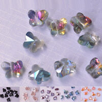 10/20Pcs Butterfly Faceted Crystal Glass Charms Finding Loose Spacer Beads 8x5mm