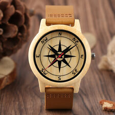 Novel Bamboo Watch Unisex Quartz Wooden Watches Compass Design Dial Leather Band