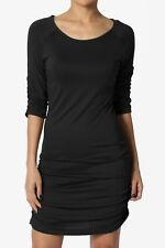 TheMogan 3/4 or Long Sleeve Slim Fit Stretch Ruched Tunic Top Mini T-Shirt Dress