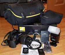 Nikon D5100 16.2MP DSLR Camera w/ AF-S DX 18-55mm Lens VR, BUNDLE. 2 batteries