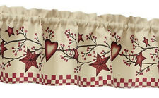Country Heart Star Checkered Valance Kitchen Rustic Primitive Burgundy