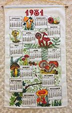 1981 Vintage Linen Calendar Kitchen Tea Towel Mushrooms