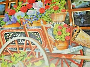 500 Piece Puzzle Jigsaw Peddlin Posies Cardinal Puzzle Bicycle Garden Flowers
