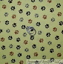 BonEful Fabric FQ Cotton Quilt Green Black Brown Gray Animal Cat Dog PAW Print