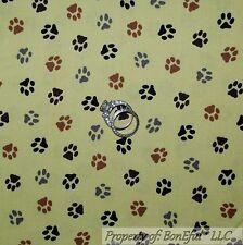BonEful Fabric Cotton Quilt VTG Green Black Brown Animal Cat Dog PAW Print SCRAP