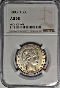1908-D 50c NGC AU 58 Choice Almost Uncirculated Barber Silver Half Dollar Coin
