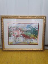 "ELIZABETH BERRY 'PINK DOCK HOUSE' Watercolor Print 22.5"" x 27"""