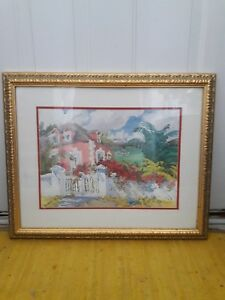 """ELIZABETH BERRY Watercolor Print Framed Matted 22.5"""" x 27"""""""