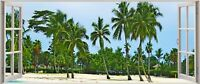 Huge 3D Panoramic Exoitic Tropical Beach Window View Wall Stickers Mural 56