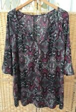 Evans Size 26 Floral Silky Blouse With 3/4 Sleeves Long Length