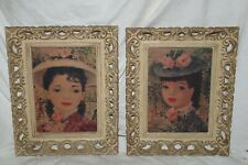 Pair Renoir's Women Vintage Lithograph Print Ornate Frames