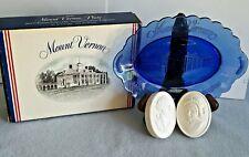 Nib Vtg Avon Mount Vernon George & Martha Washington Soap Cobalt Blue Plate