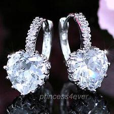 Cubic Zirconia Heart Hoop Costume Earrings
