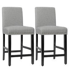 "Set of 2 Counter Stools 25"" Kitchen Breakfast Chairs Nailhead Bar Stools Gray"
