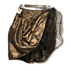David Meister Neiman Marcus Floral Pleated Gold Midi Skirt Size 2