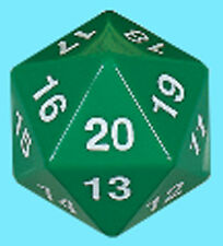 KOPLOW GAMES 55MM OPAQUE GREEN w/ WHITE DIE D20 Countdown Dice Life Counter RPG