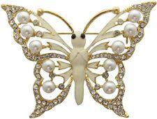 Enamel & Pearl Butterfly Brooch Wedding Cake Decoration Bridal Brooch Bouquet