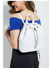GUESS Cleo Quilted Logo Backpack Hobo Handbag White w/ chain