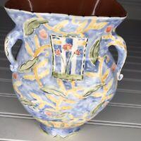 Vintage 2000 Handemade Ceramic Floral Vase Blue Yellow Handles