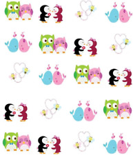 Valentine Animal Couples Waterslide /Water Transfer Nail Decals/Nail art