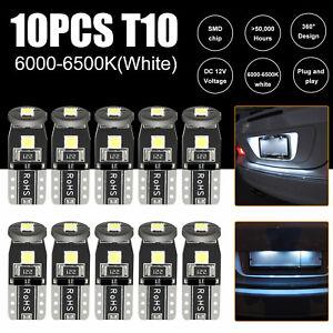 10 x White LED T10 194 168 W5W Interior Map Car Trunk License Plate Light Bulbs