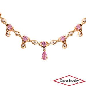 Estate Diamond Pink Sapphire 14K Gold Lovely Dangle Chain Necklace 6.4 Grams NR