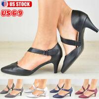Women's Low Heel Kitten Heel Sandals Shoes Pointed Toe Ankle Strap Dress Pumps