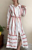 New Tommy Hilfiger Linen Shirt Dress Uk 12 Midi Mid Calf Maxi Cream Red Striped