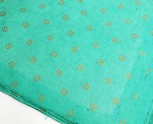 Lokta Paper, Handmade Fair Trade Wrapping Paper, Gold Flower Print