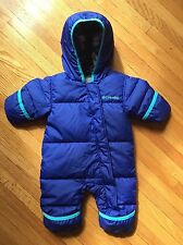 COLUMBIA Down Bunting Snowsuit, Girls Infant 0-3 months Purple Fleece lined
