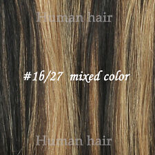 100% Human Hair Extensions Clip in Full  7pcs Set/ Highlights Black Brown Blonde