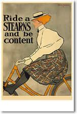 Ride a Stearns Be Content - Edward Penfield - NEW Bicycle Bike Art Print POSTER