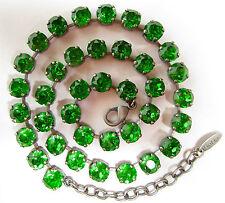SoHo® Collier Kette mit vintage bohemia peridot grün böhmische Glassteine 70er
