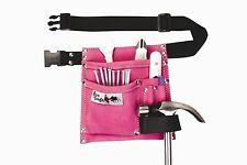 5 Pocket Suede Leather Pink Tool Pouch Bag Belt
