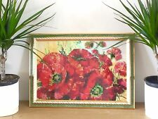 Handmade Embroidered Beaded Picture of Scarlet Poppies, perfect family gift
