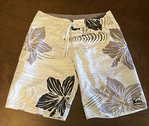 Quicksilver Swim Trunks Floral Board Shorts Mesh Lined Black Gray Men's Size 34