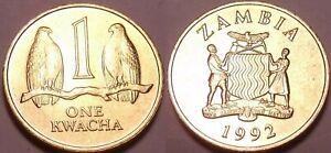 Zambia 1992 1  Kwacha KM-38 Brass Taita falcons BUNC - US Seller