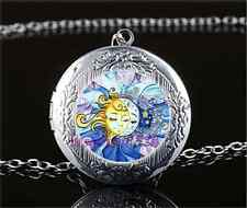 Sun and Moon Face Photo Glass Tibet Silver Chain Locket Pendant Necklace