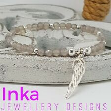 Inka 925 Sterling Silver & Grey Agate bead Stacking Bracelet large Wing charm