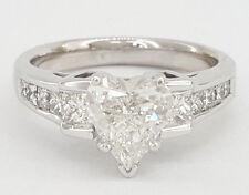 2.27 ct 14K White Gold Heart & Princess Cut Diamond Engagement Ring GIA Rtl $15k