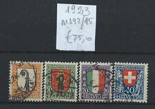 FRANCOBOLLI 1923 SVIZZERA PRO JUVENTUTE 4 VALORI USATI D/4374