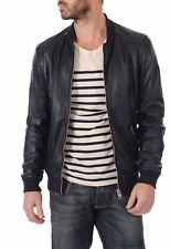 NOORA Men Leather Jacket New Black Soft Lambskin Slim Biker Bomber BS-111