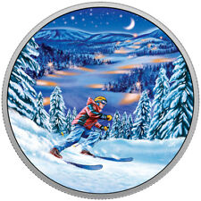 2017 $15 FINE SILVER COIN GREAT CANADIAN OUTDOORS: NIGHT SKIING