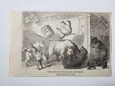 Wall Street Battle of the Bulls & Bears 1864 Civil War Cartoon